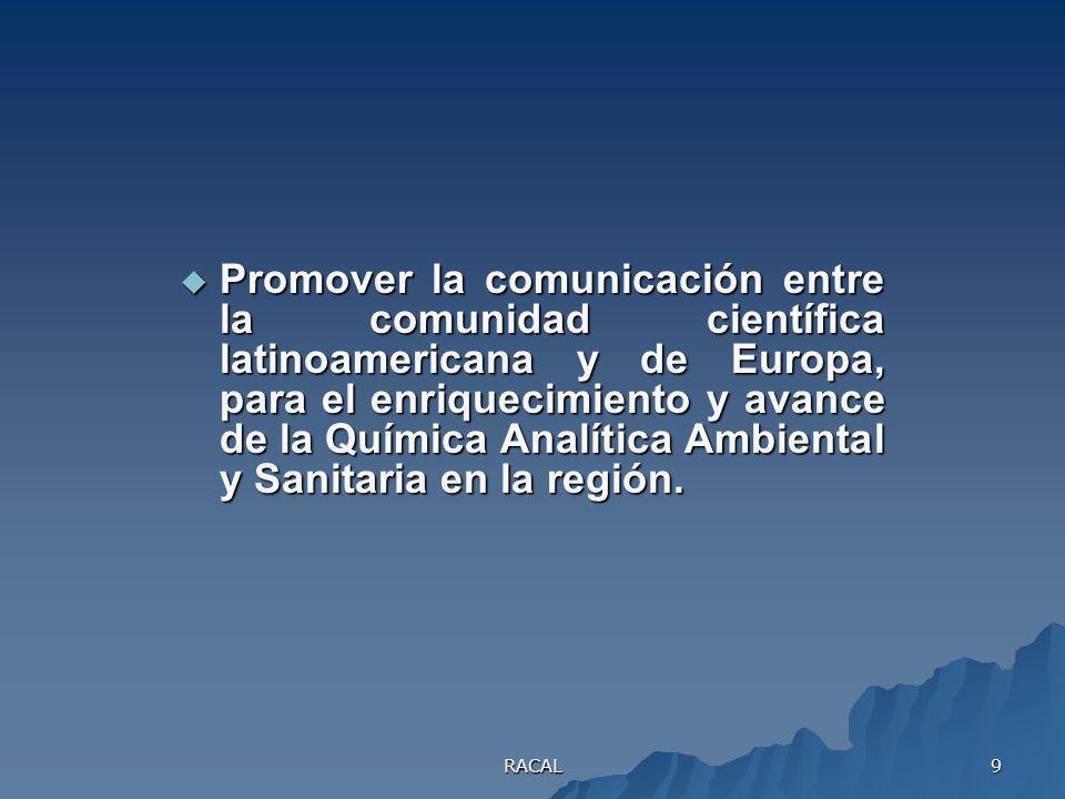 Promover la comunicación entre la comunidad científica latinoamericana y de Europa, para el enriquecimiento y avance de la Química Analítica Ambiental y Sanitaria en la región.