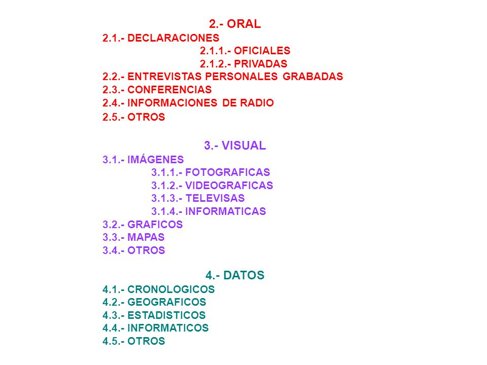 2.- ORAL 3.- VISUAL 4.- DATOS 2.1.- DECLARACIONES 2.1.1.- OFICIALES