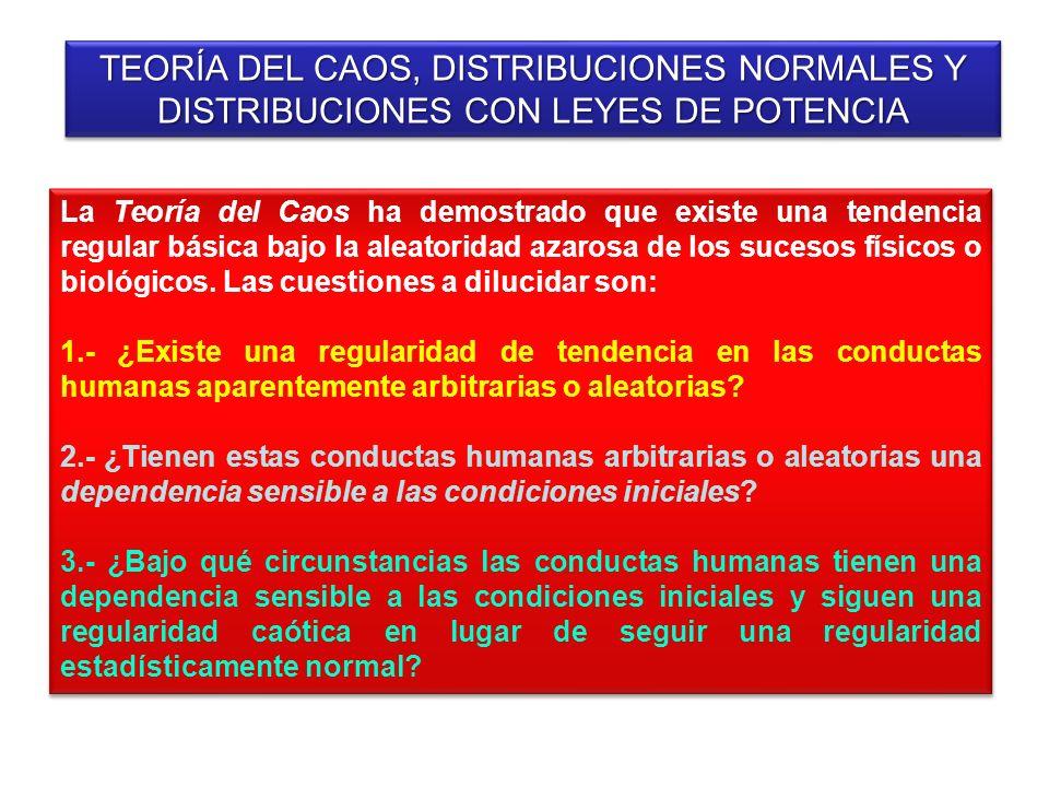 TEORÍA DEL CAOS, DISTRIBUCIONES NORMALES Y DISTRIBUCIONES CON LEYES DE POTENCIA