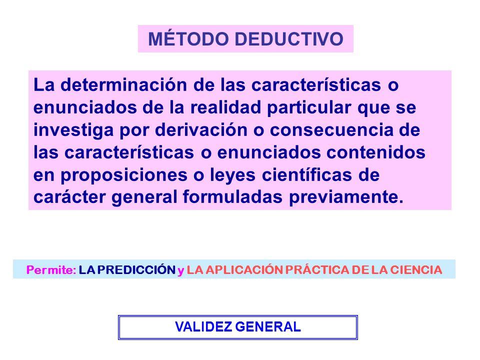 Permite: LA PREDICCIÓN y LA APLICACIÓN PRÁCTICA DE LA CIENCIA