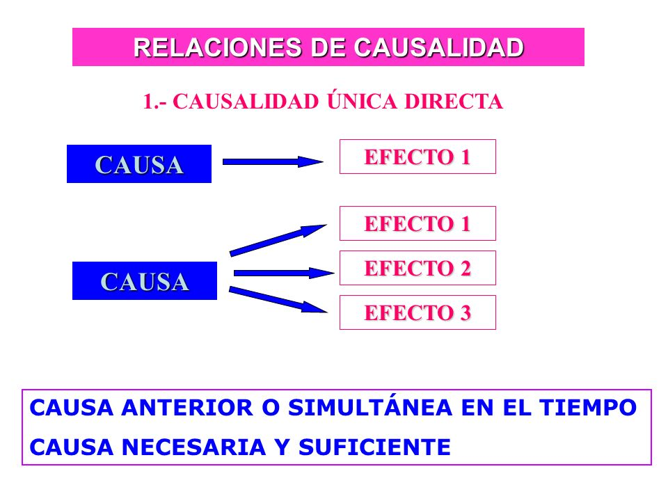 RELACIONES DE CAUSALIDAD 1.- CAUSALIDAD ÚNICA DIRECTA