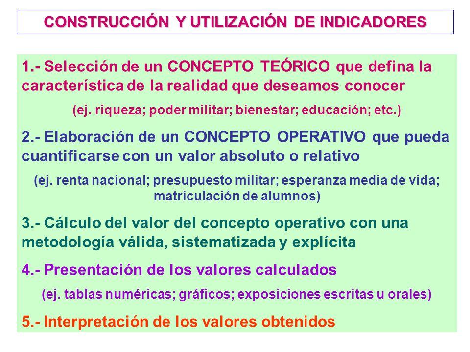 CONSTRUCCIÓN Y UTILIZACIÓN DE INDICADORES