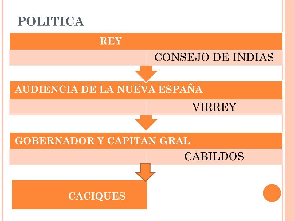 POLITICA REY AUDIENCIA DE LA NUEVA ESPAÑA GOBERNADOR Y CAPITAN GRAL