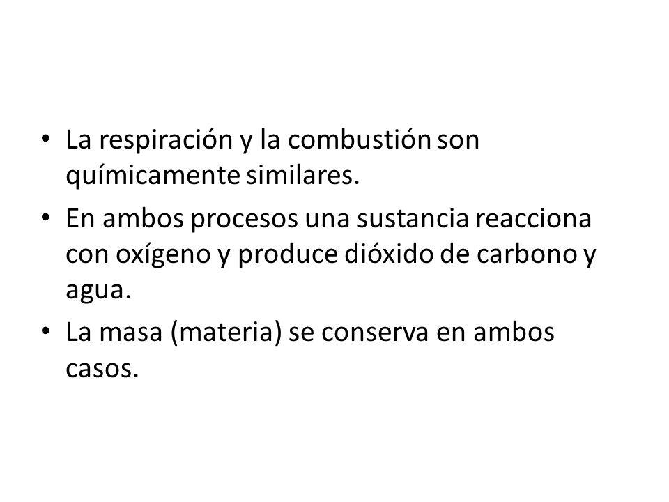 La respiración y la combustión son químicamente similares.