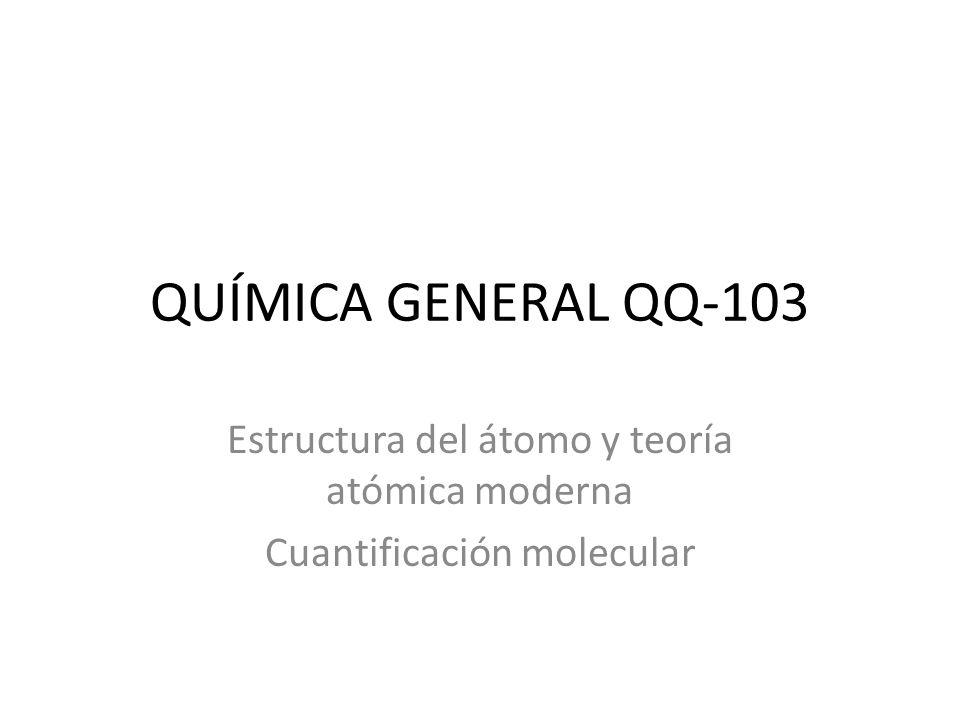 Estructura del átomo y teoría atómica moderna Cuantificación molecular