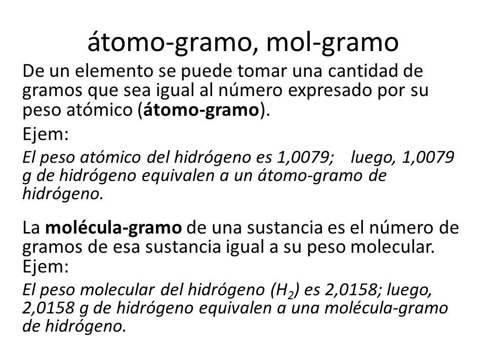 átomo-gramo, mol-gramo