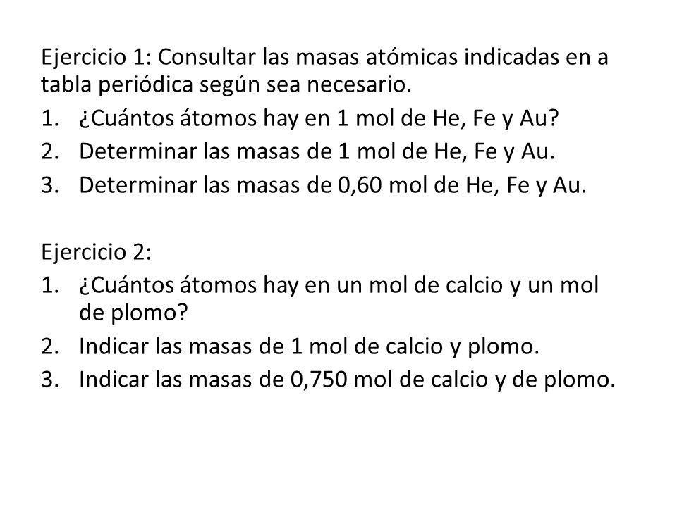 Ejercicio 1: Consultar las masas atómicas indicadas en a tabla periódica según sea necesario.