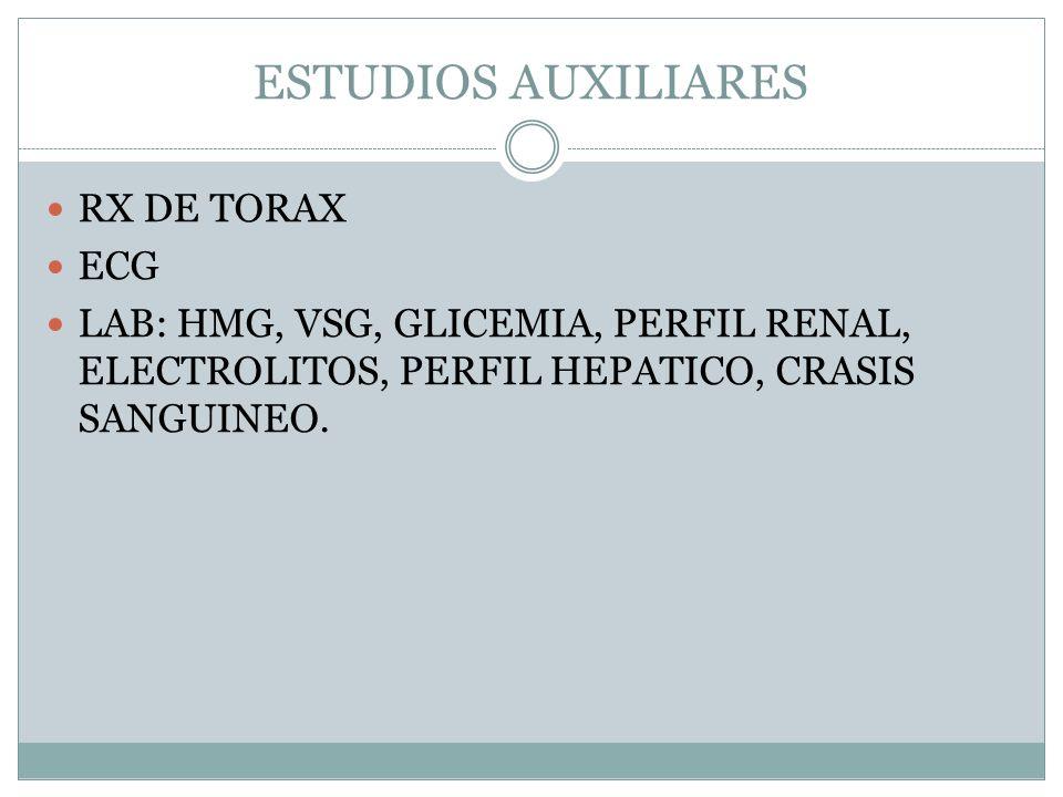 ESTUDIOS AUXILIARES RX DE TORAX ECG