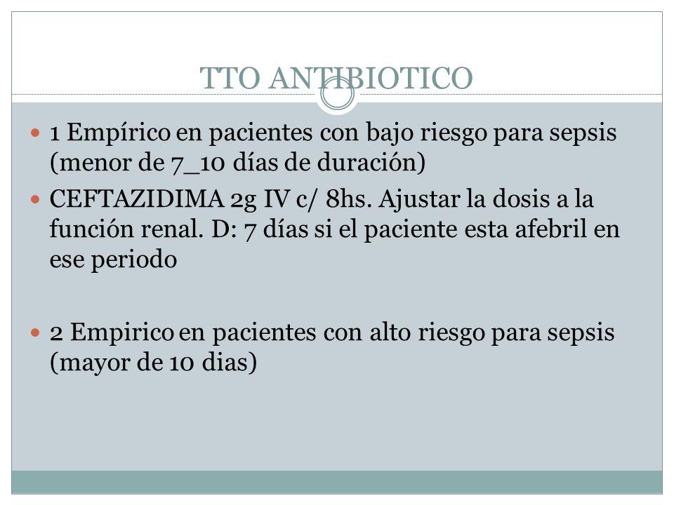 TTO ANTIBIOTICO 1 Empírico en pacientes con bajo riesgo para sepsis (menor de 7_10 días de duración)