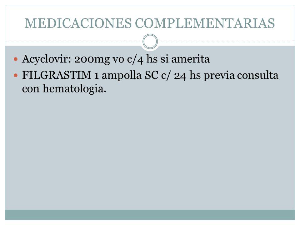MEDICACIONES COMPLEMENTARIAS