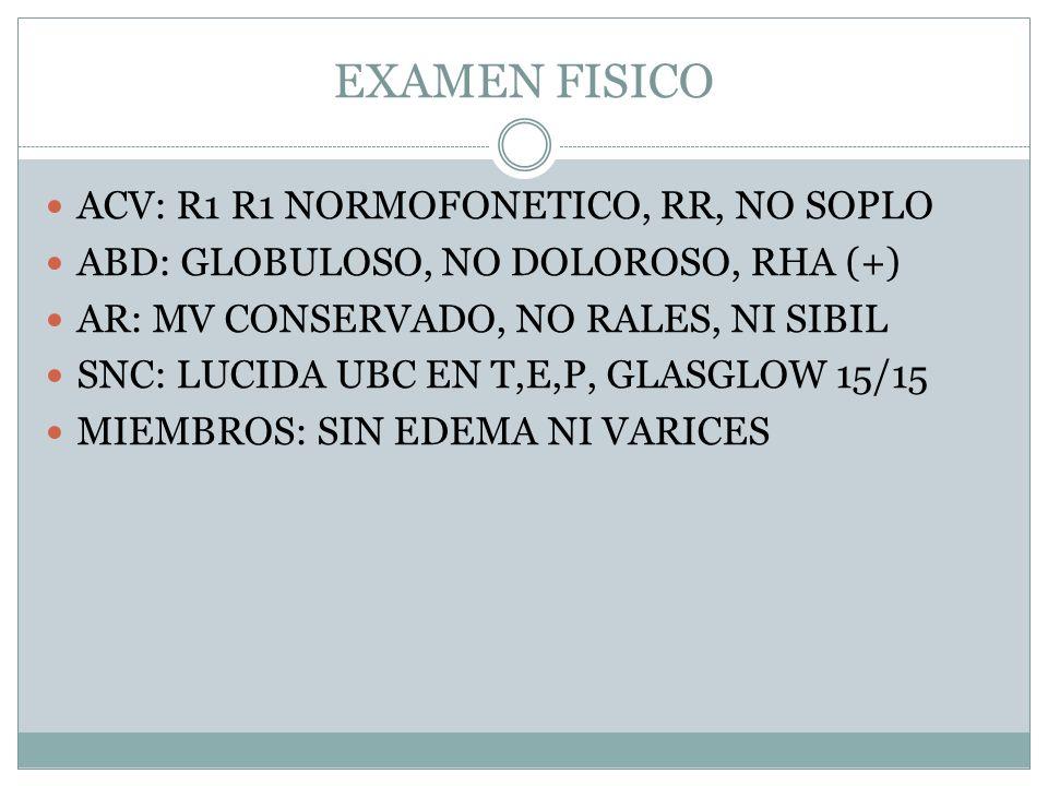 EXAMEN FISICO ACV: R1 R1 NORMOFONETICO, RR, NO SOPLO