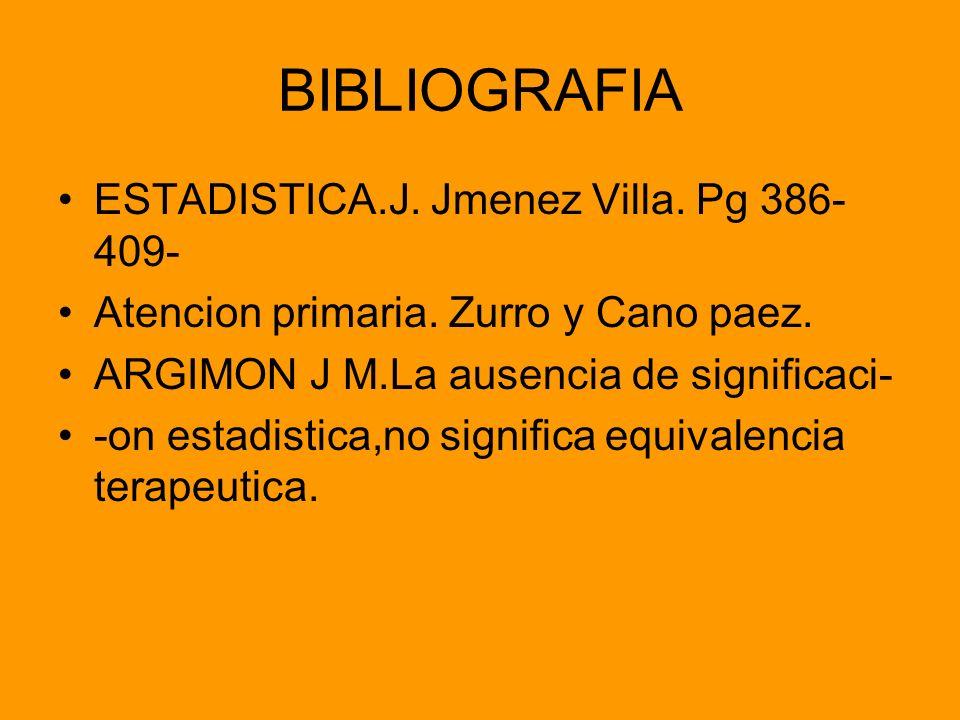 BIBLIOGRAFIA ESTADISTICA.J. Jmenez Villa. Pg 386-409-