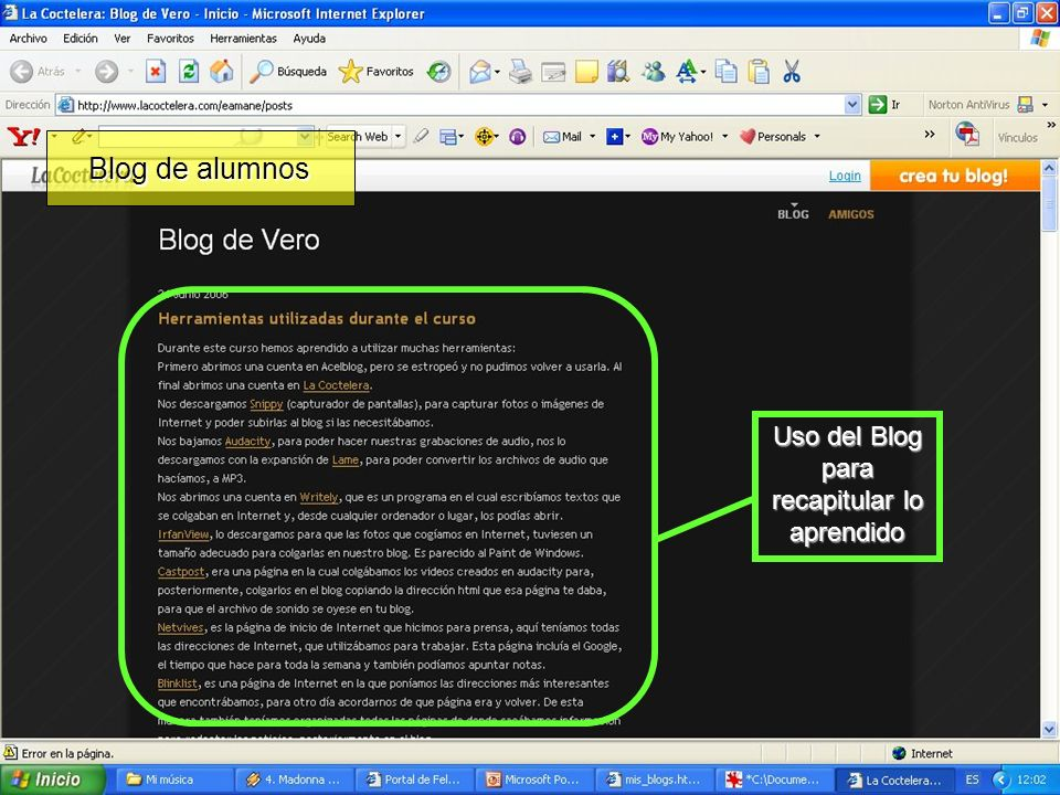 Uso del Blog para recapitular lo aprendido