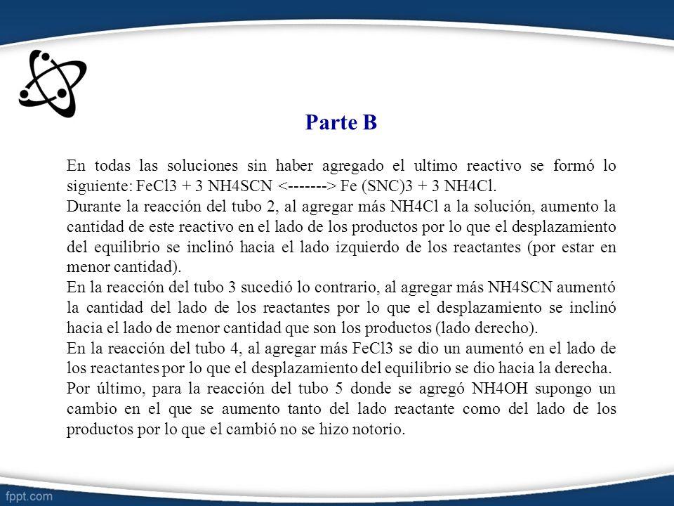 Parte B En todas las soluciones sin haber agregado el ultimo reactivo se formó lo siguiente: FeCl3 + 3 NH4SCN <-------> Fe (SNC)3 + 3 NH4Cl.