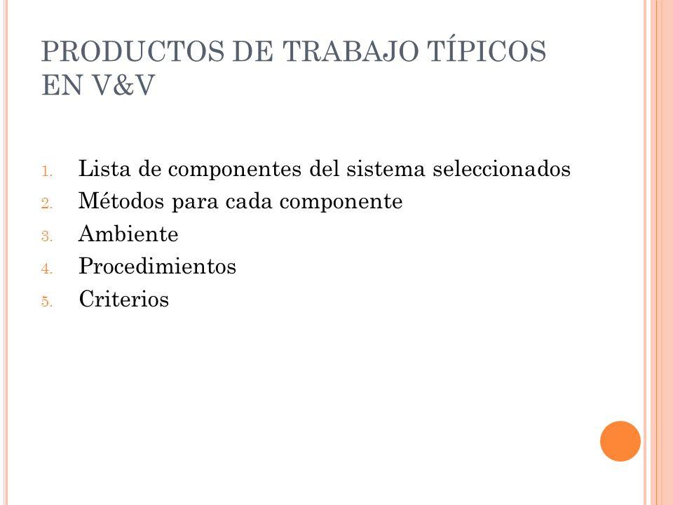 PRODUCTOS DE TRABAJO TÍPICOS EN V&V