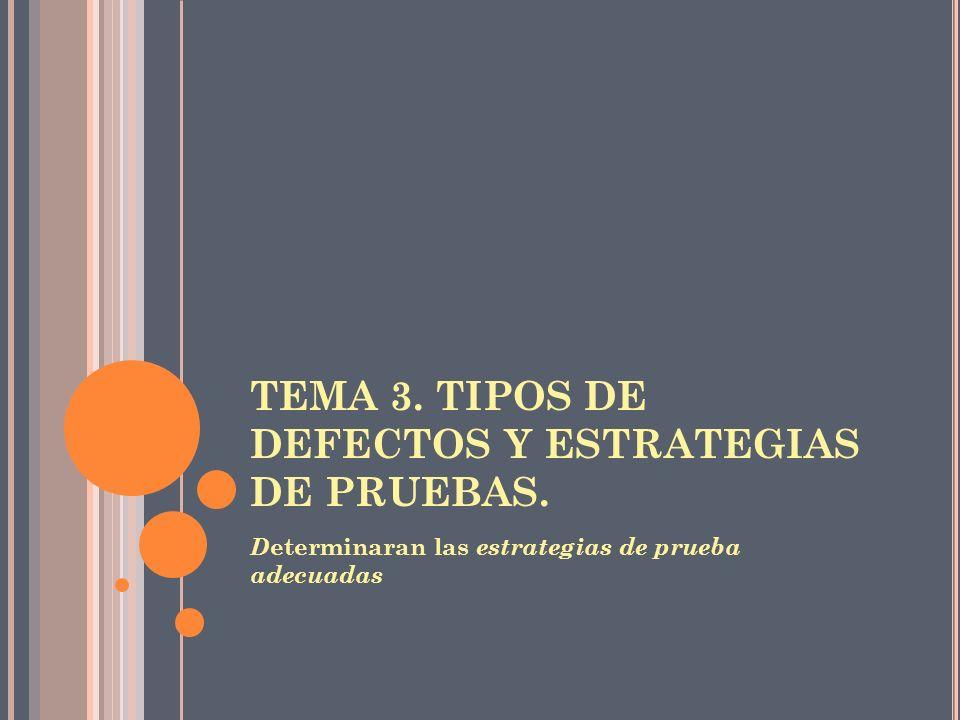 TEMA 3. TIPOS DE DEFECTOS Y ESTRATEGIAS DE PRUEBAS.