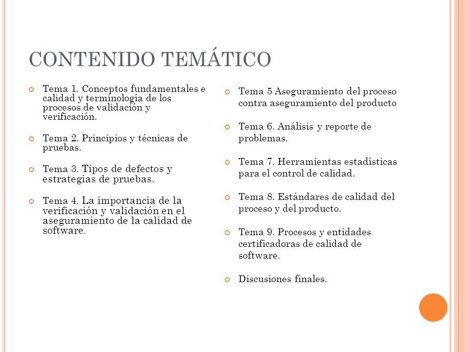 CONTENIDO TEMÁTICO Tema 1. Conceptos fundamentales e calidad y terminología de los procesos de validación y verificación.
