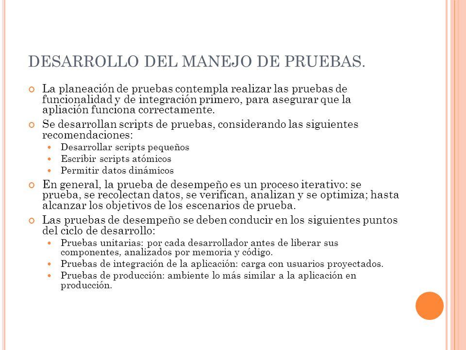 DESARROLLO DEL MANEJO DE PRUEBAS.