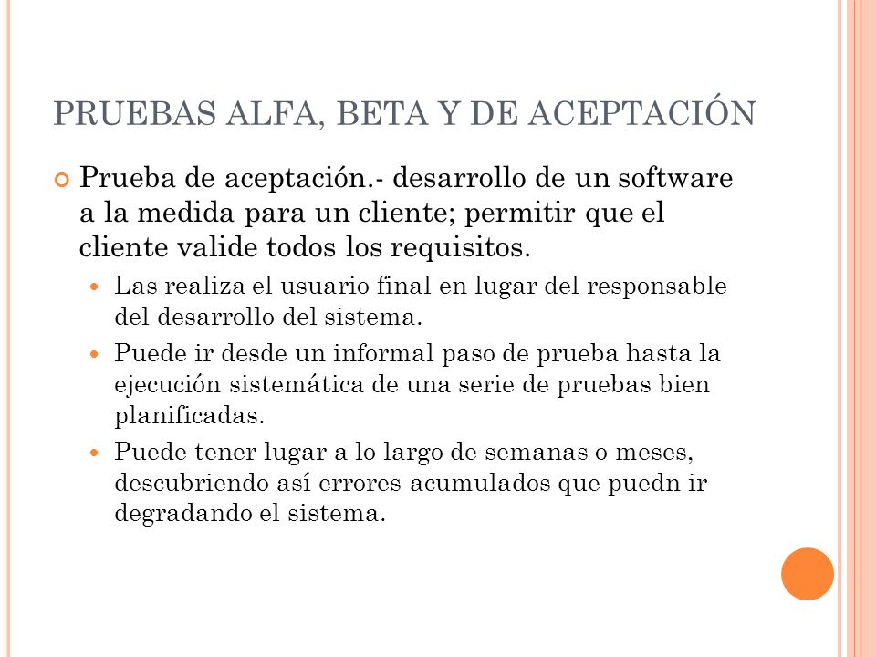 PRUEBAS ALFA, BETA Y DE ACEPTACIÓN