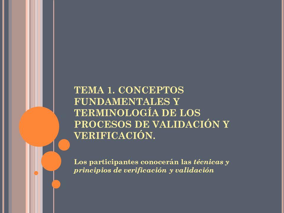 TEMA 1. CONCEPTOS FUNDAMENTALES Y TERMINOLOGÍA DE LOS PROCESOS DE VALIDACIÓN Y VERIFICACIÓN.