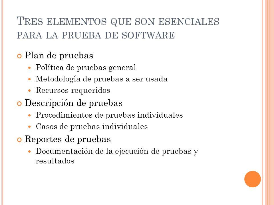 Tres elementos que son esenciales para la prueba de software