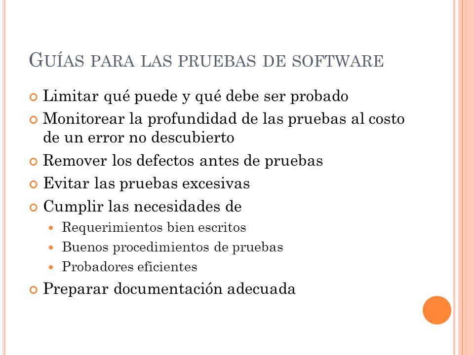 Guías para las pruebas de software