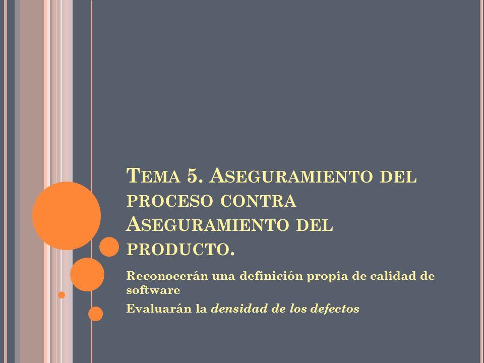 Tema 5. Aseguramiento del proceso contra Aseguramiento del producto.
