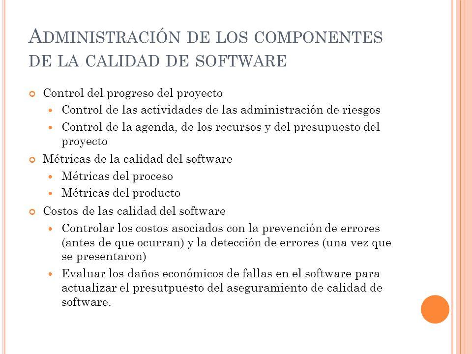 Administración de los componentes de la calidad de software