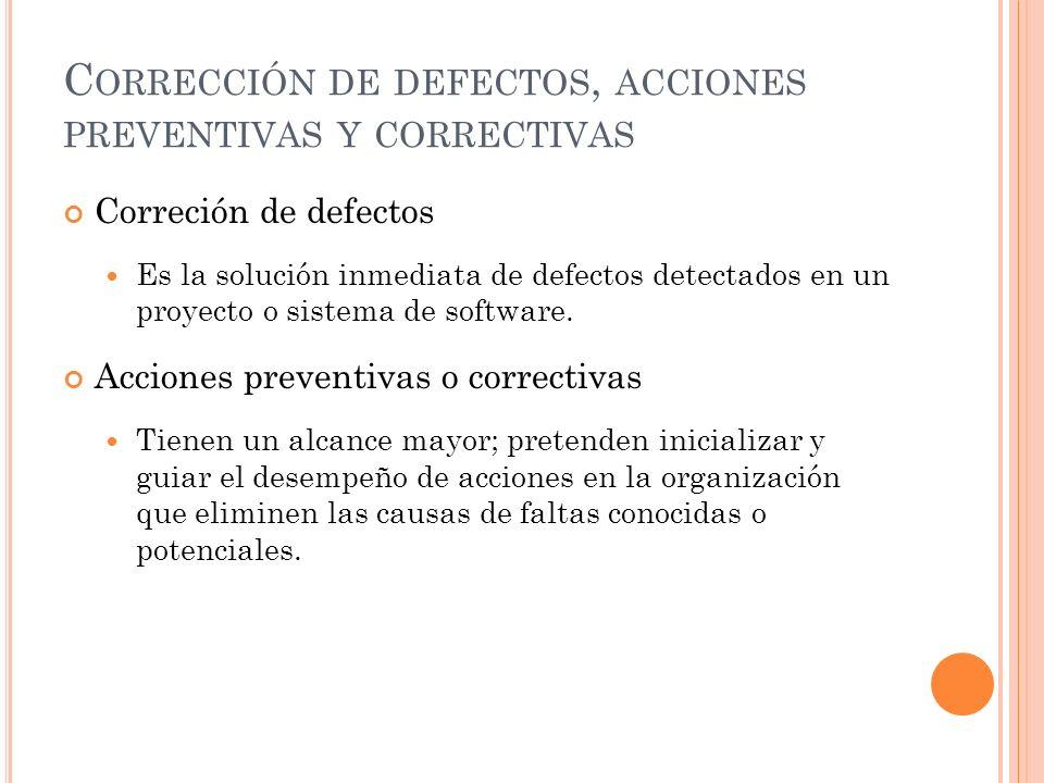Corrección de defectos, acciones preventivas y correctivas