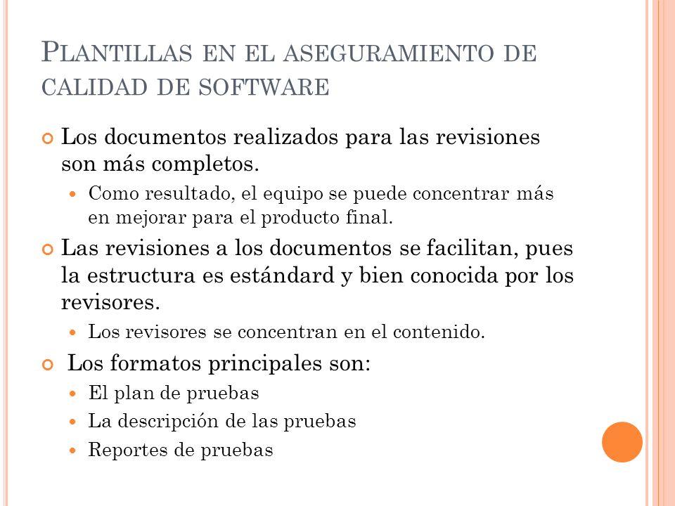 Plantillas en el aseguramiento de calidad de software