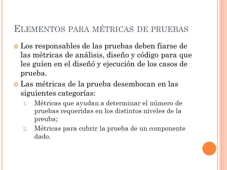 Elementos para métricas de pruebas
