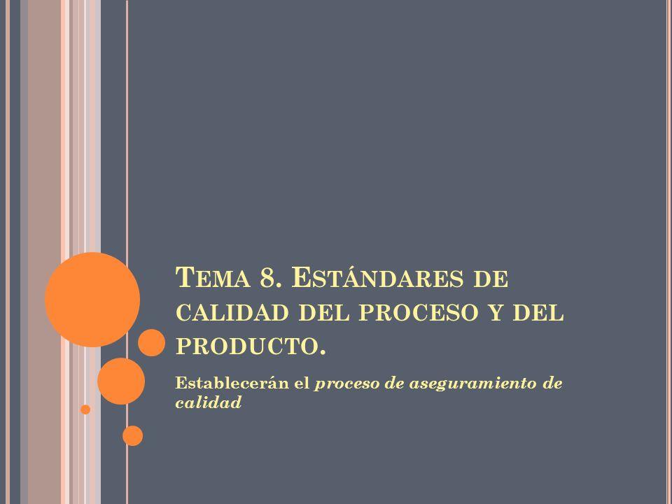 Tema 8. Estándares de calidad del proceso y del producto.