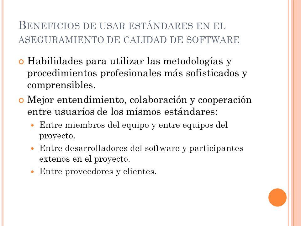 Beneficios de usar estándares en el aseguramiento de calidad de software