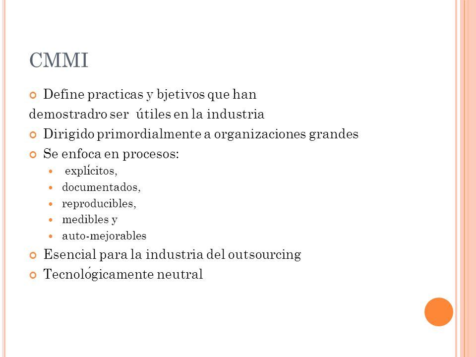 CMMI Define practicas y bjetivos que han