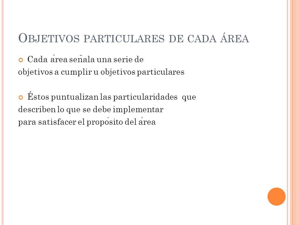 Objetivos particulares de cada área