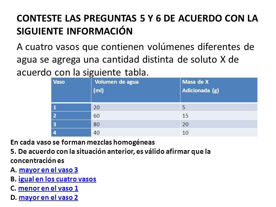 CONTESTE LAS PREGUNTAS 5 Y 6 DE ACUERDO CON LA SIGUIENTE INFORMACIÓN