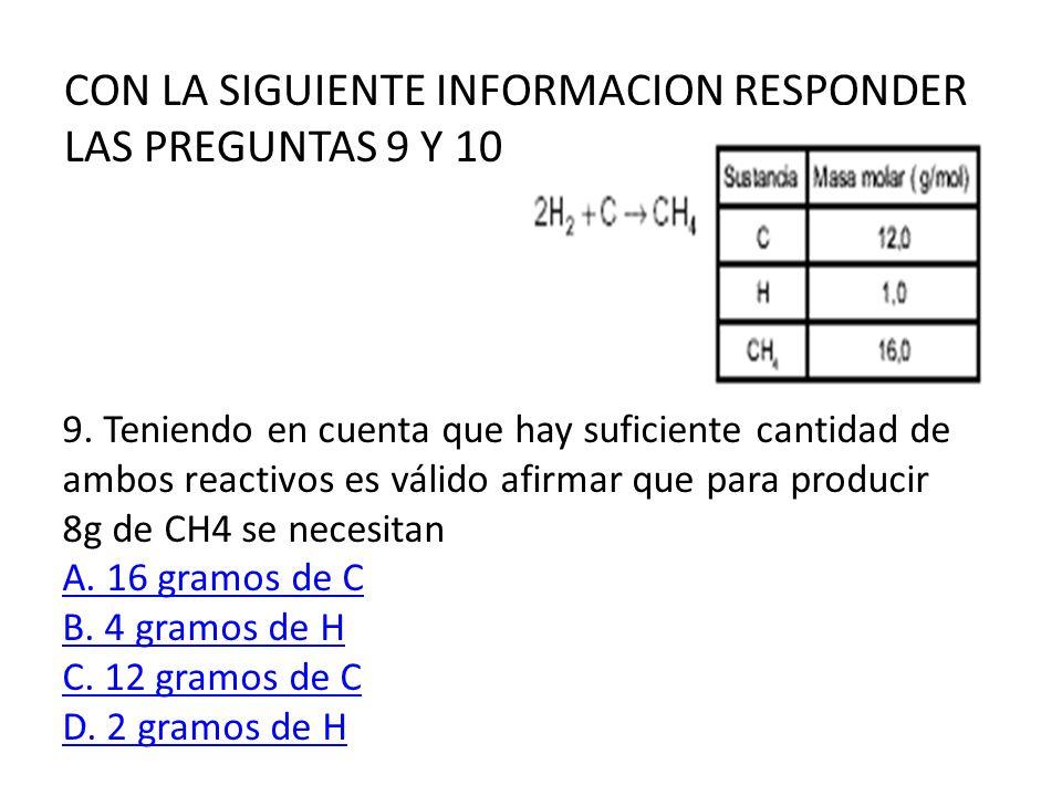 CON LA SIGUIENTE INFORMACION RESPONDER LAS PREGUNTAS 9 Y 10