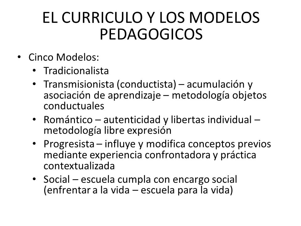 EL CURRICULO Y LOS MODELOS PEDAGOGICOS