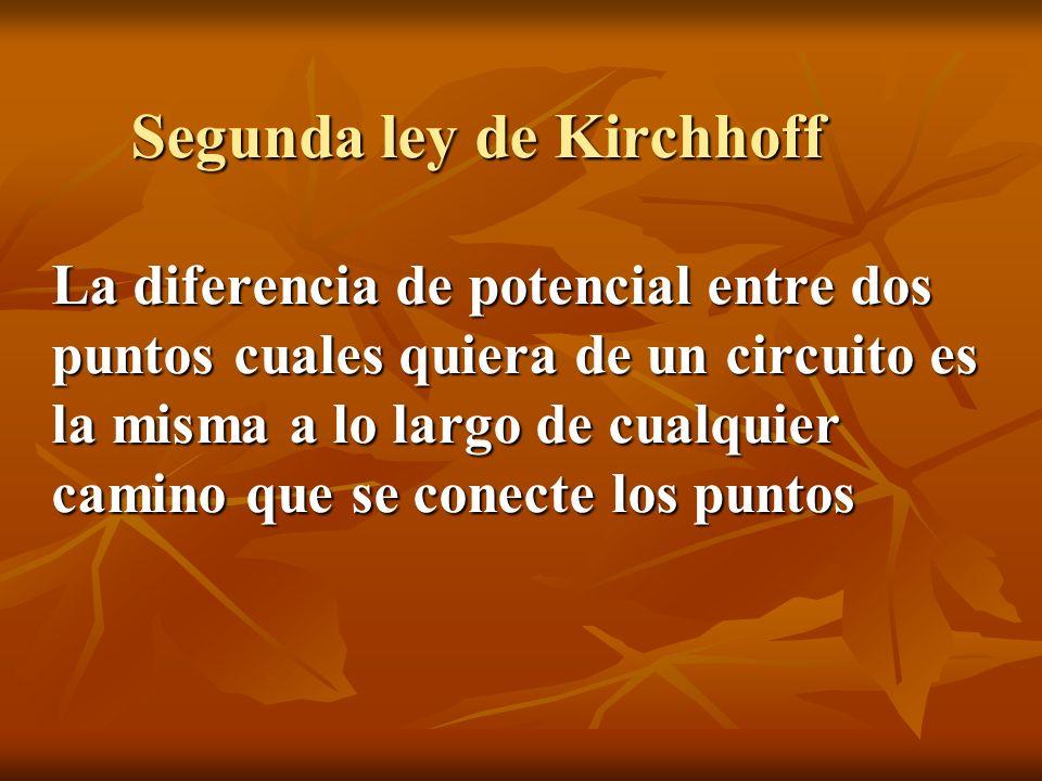 Segunda ley de Kirchhoff La diferencia de potencial entre dos puntos cuales quiera de un circuito es la misma a lo largo de cualquier camino que se conecte los puntos