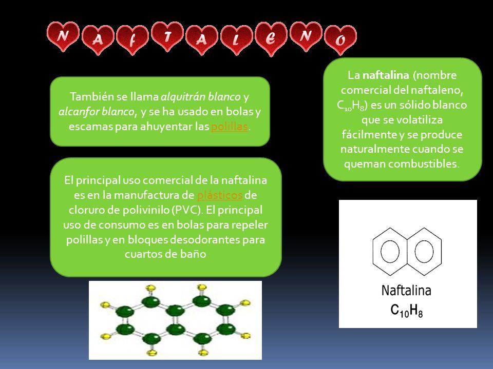 La naftalina (nombre comercial del naftaleno, C10H8) es un sólido blanco que se volatiliza fácilmente y se produce naturalmente cuando se queman combustibles.