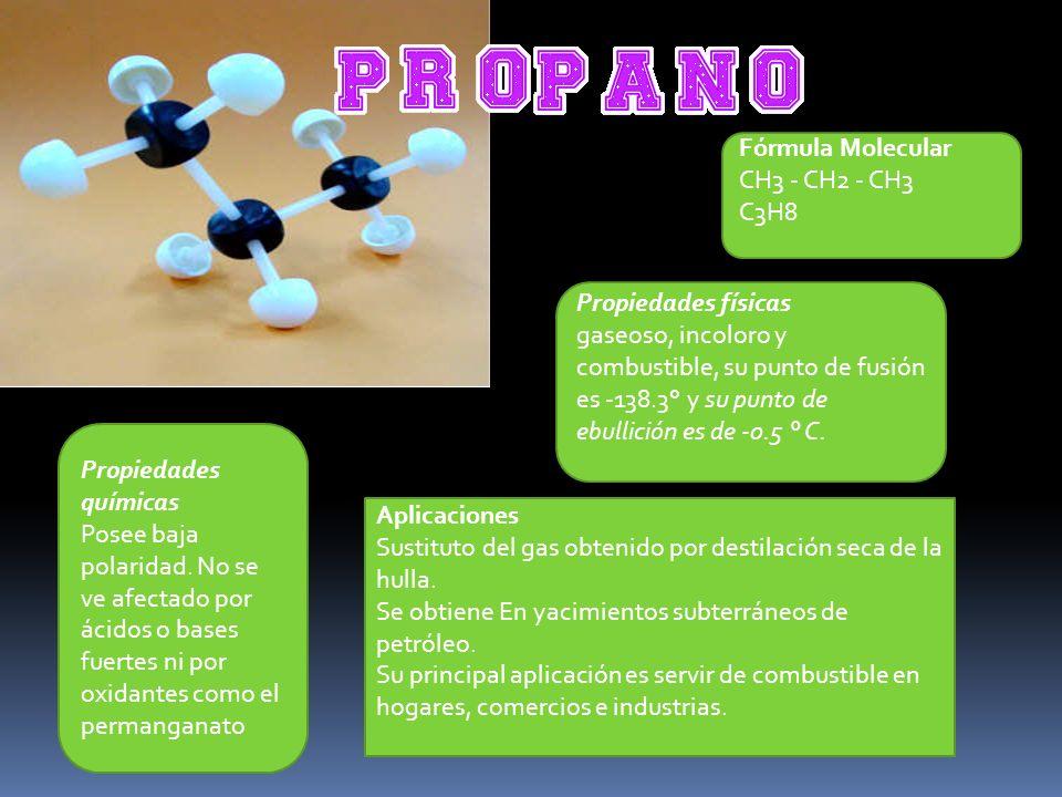 Fórmula Molecular CH3 - CH2 - CH3. C3H8. Propiedades físicas.