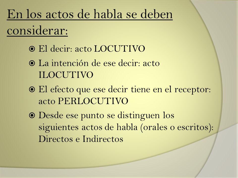En los actos de habla se deben considerar: