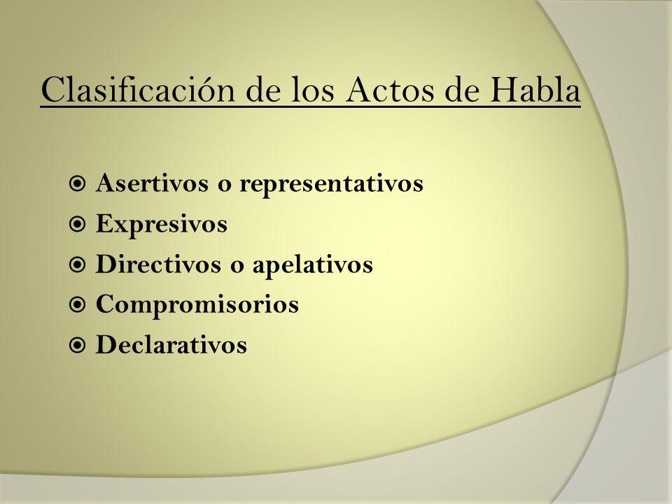 Clasificación de los Actos de Habla