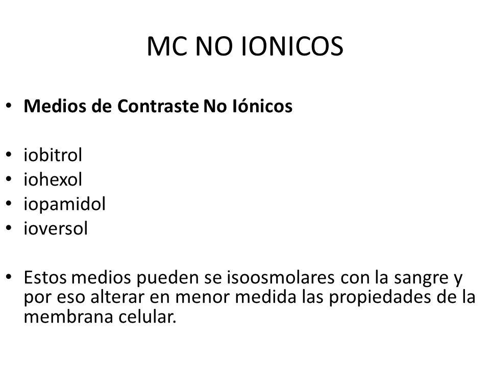 MC NO IONICOS Medios de Contraste No Iónicos iobitrol iohexol