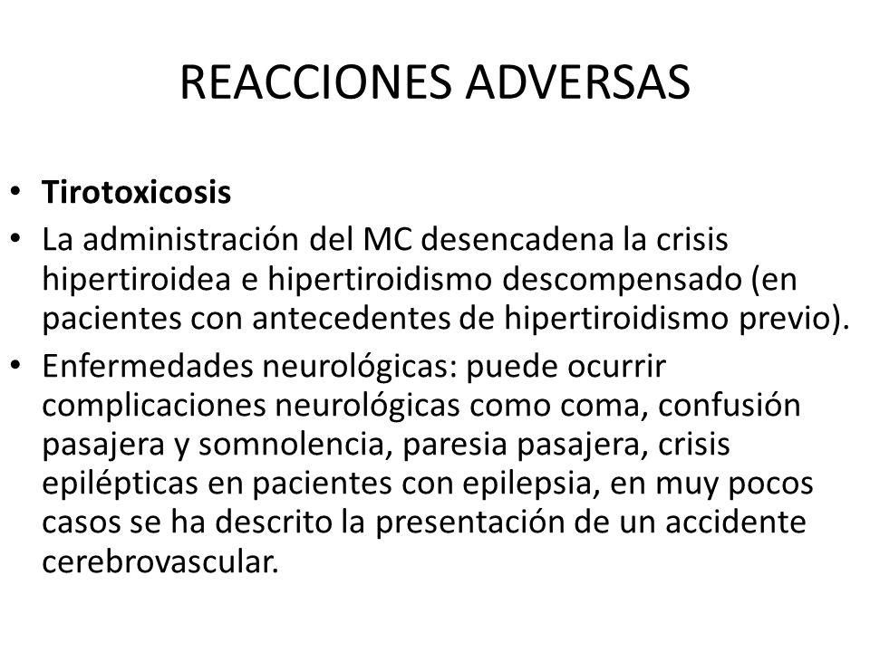 REACCIONES ADVERSAS Tirotoxicosis