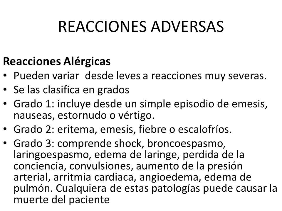 REACCIONES ADVERSAS Reacciones Alérgicas
