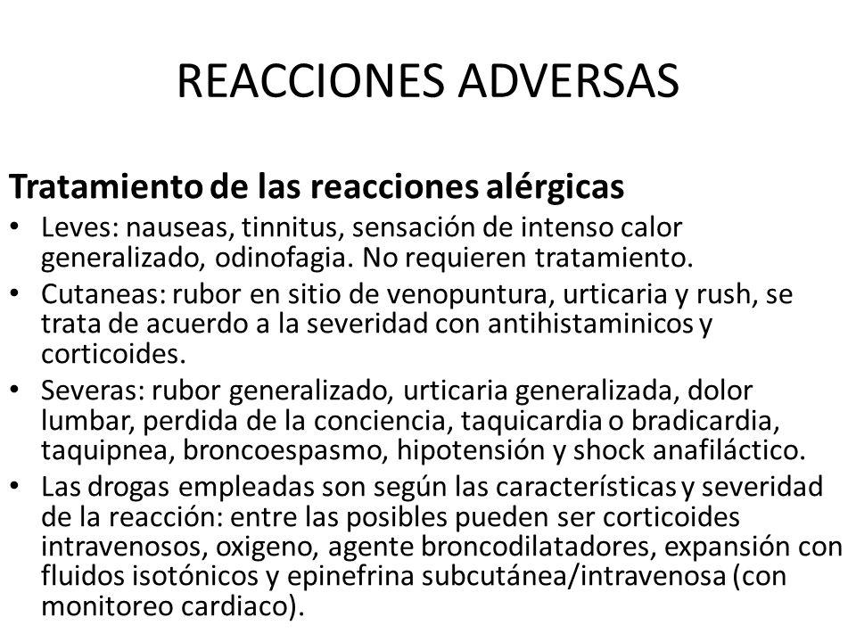 REACCIONES ADVERSAS Tratamiento de las reacciones alérgicas