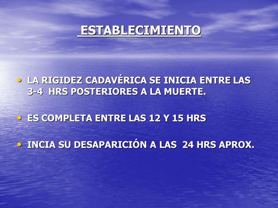 ESTABLECIMIENTO LA RIGIDEZ CADAVÉRICA SE INICIA ENTRE LAS 3-4 HRS POSTERIORES A LA MUERTE. ES COMPLETA ENTRE LAS 12 Y 15 HRS.