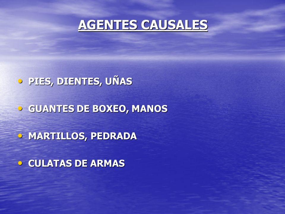 AGENTES CAUSALES PIES, DIENTES, UÑAS GUANTES DE BOXEO, MANOS