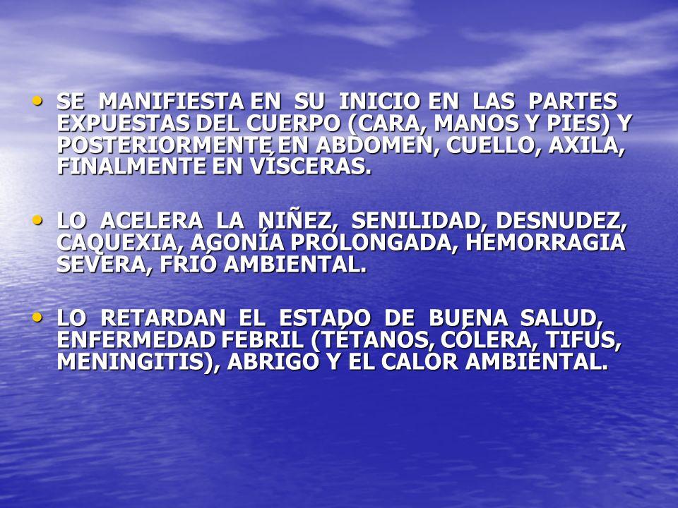 SE MANIFIESTA EN SU INICIO EN LAS PARTES EXPUESTAS DEL CUERPO (CARA, MANOS Y PIES) Y POSTERIORMENTE EN ABDOMEN, CUELLO, AXILA, FINALMENTE EN VÍSCERAS.